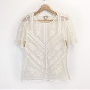 Lucky Brand Delicate Lace Knit Blouse Size Small